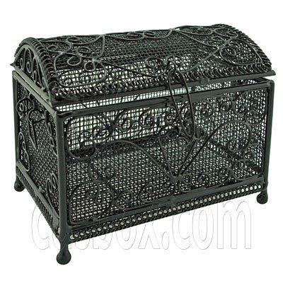 Black Wire New Deluxe Jewellery Chest Box 1:12 Doll's House Dollhouse Miniature #11981