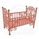 Pink Wire New Bedding Crib Cradle Cot 1:12 Doll's House Dollhouse Furniture MIB #12002