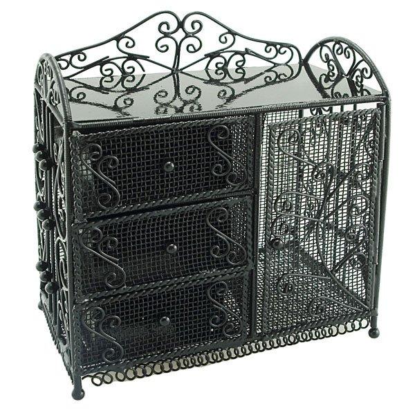 Black Wire Dresser Chest w Drawer Cabinet 1:12 Doll's House Dollhouse Furniture #12108
