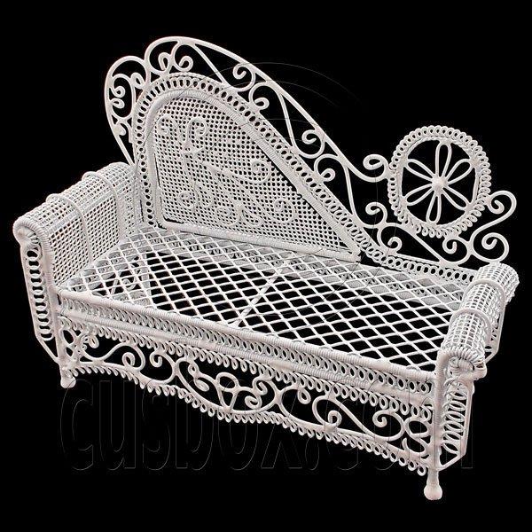 White Wire Chaise Longue Long Sofa Sleeper 1:12 Doll's House Dollhouse Furniture #12202