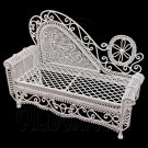 White Wire Chaise Longue Long Sofa Sleeper 1:12 Doll's House Dollhouse Furniture #12202