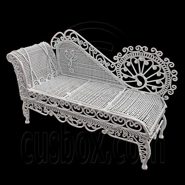 White Wire Chaise Longue Long Sleeper Sofa 1:12 Doll's House Dollhouse Furniture #12246