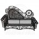 Black Wire Chaise Longue Long Sofa Sleeper 1:12 Doll's House Dollhouse Furniture #12285
