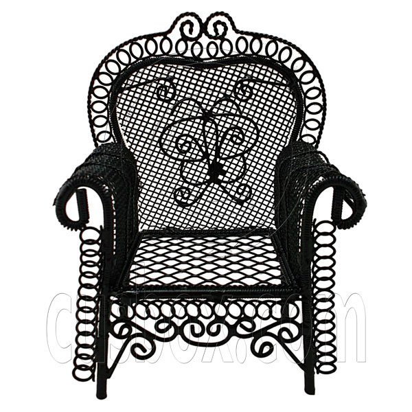 Black Wire Single Armchair Arm Chair Home 1:12 Doll's House Dollhouse Furniture #12296