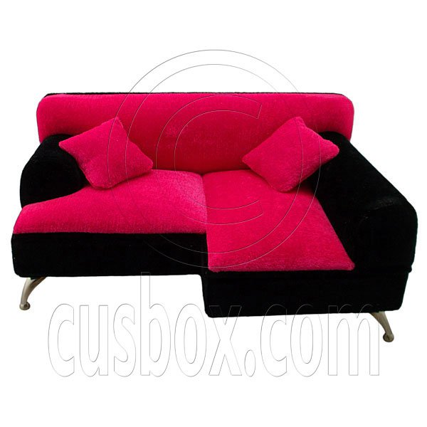 Black Pink Plush Sofa Chaise Longue Jewelry Box 1:6 Barbie Dollhouse Furniture #12297