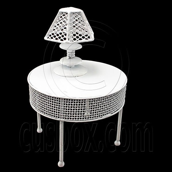 White Wire Round Coffee Dining Table Lamp 1:12 Doll's House Dollhouse Furniture #12301