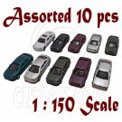 Lot/Set Assorted 10 Painted Auto Car Vehicle RR Train Model 1:150 N Scale #12268
