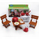 Table Chair Stove Dishes for Sylvanian Families Furryville Calico Critters Dolls #13036