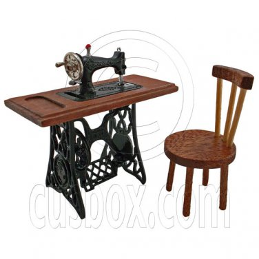 Vintage Black Sewing Machine + Chair 1/12 Doll's House Dollhouse Miniature MIB #12605