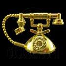 Vintage Gold Desk Ringing Telephone 1/6 Barbie Doll's House Dollhouse Miniature #12464