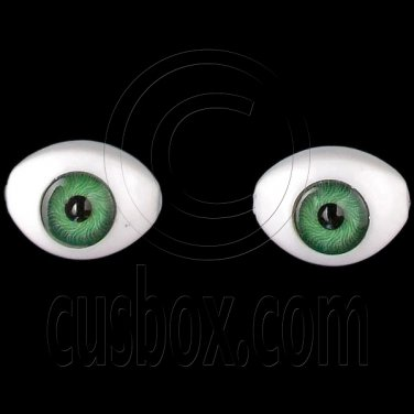 Green Pair Oval Doll Eyes Half Round Acrylic Dolls Eye 14mm Long Iris Dia 6mm #12765
