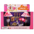 Table Lamp Swan Vase Candle Clock Play Set 1/6 for Barbie Ken Monster High MIB #12802