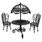 Set Black Wire Garden Umbrella Table Chair 1:12 Doll's House Dollhouse Furniture #13104