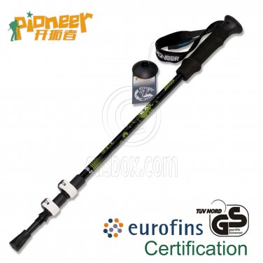 PIONEER Trekking Pole 65-135cm Fast Lock EVA Grip 7075 Aluminum Alloy Single BLACK #51963