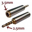 Gold 2.5mm Male to 3.5mm Female Stereo Mic Audio Earphone Jack Adapter Converter #13019