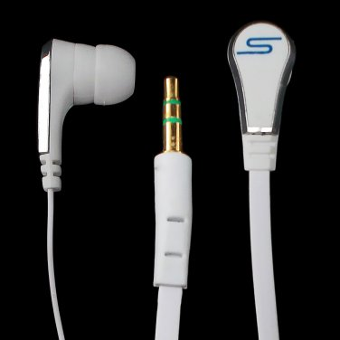 White 3.5mm In-Ear Earphone Headphone Earbud Headset Flat Tangle Free Cable Cord #12850