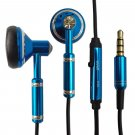 Blue 3.5mm Metal w Mic Headphone Earbuds Headset for Android Phone Apple iPhone #13198