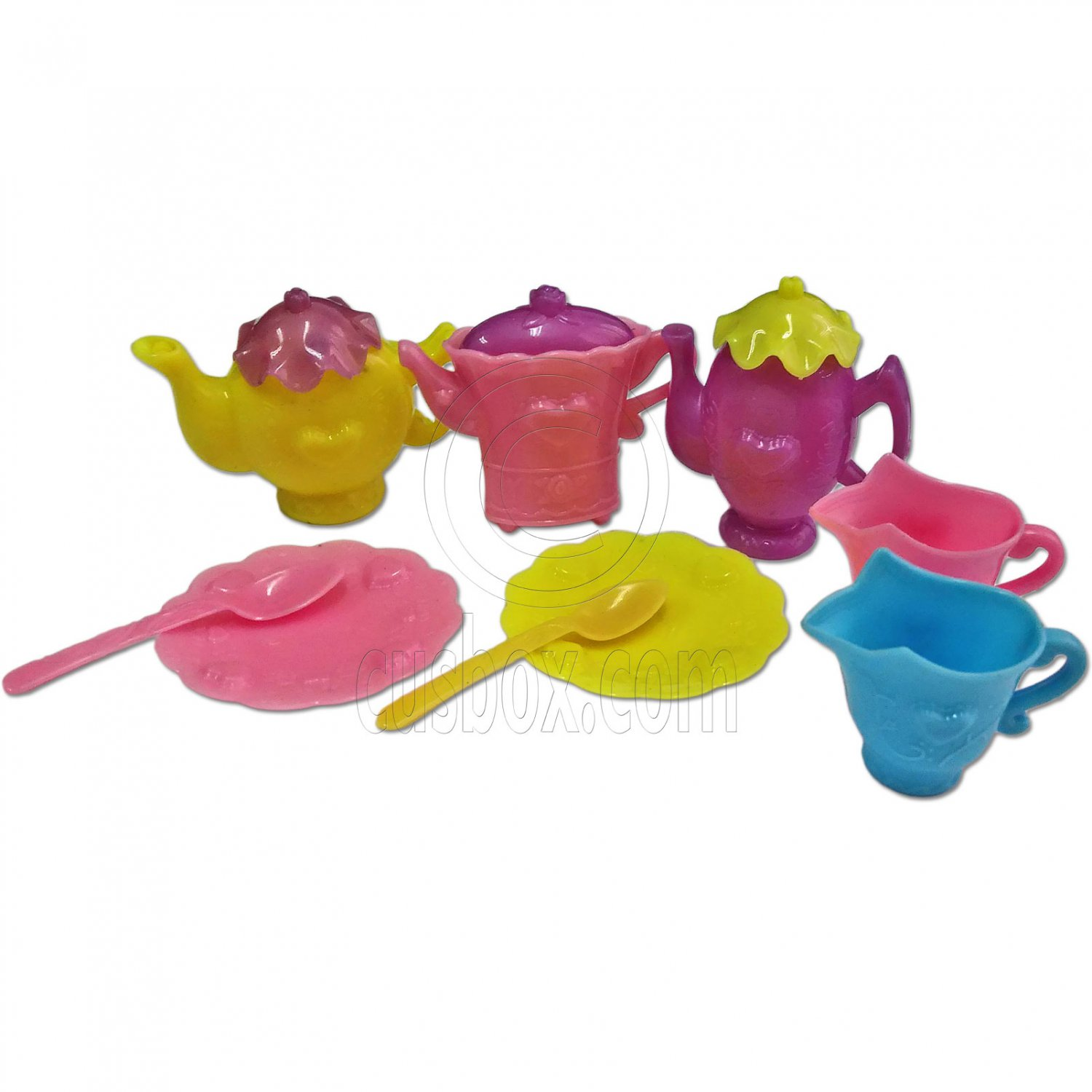 Set Teapot Tea Pot Tableware Spoon Saucer 1:6 Scale Barbie Monster High Doll's #13146