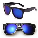 Black Frame Blue Mirror Reflective Lens Women's Men's Wayfarer Style Sunglasses #13273