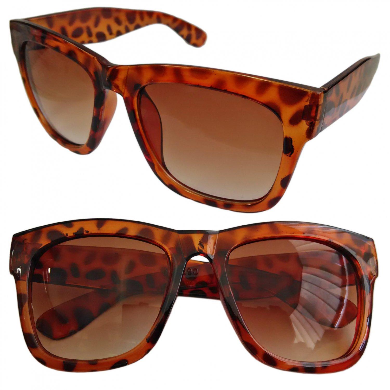 Cheetah Leopard Frame Brown Lens Women's Men's Wayfarer Designer Flat Sunglasses #13274