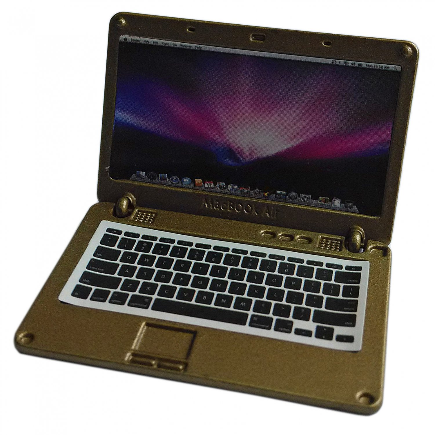 Golden Metal Laptop MacBook 16:10 1/12 Scale Doll's House Dollhouse Miniature #13315