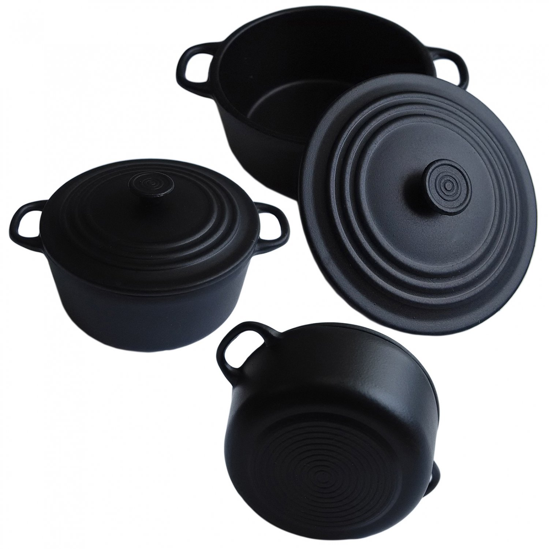 Black Enameled Cast Iron Cookware Pot 1/12 Doll's House Dollhouse Miniature #13319