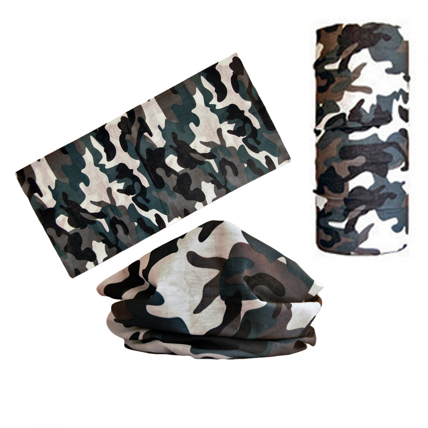 Gray Camouflage Adult Women's Men's Cycling Hiking Scarf Bandana Bandanna Gear #13302
