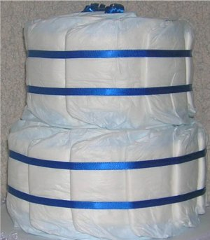 ~ GRAND UNDECORATED DIAPER CAKE ~ 40 PAMPERS SWADDLERS