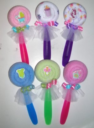 WASHCLOTH LOLLIPOP WITH BABY BRAD~ BABYSHOWER FAVOR ~