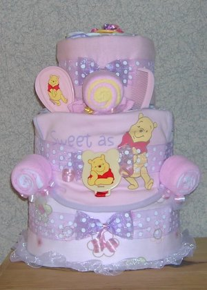 ~ELITE WINNIE THE POOH THEME DIAPER CAKE~GIFTS BY JAYDE