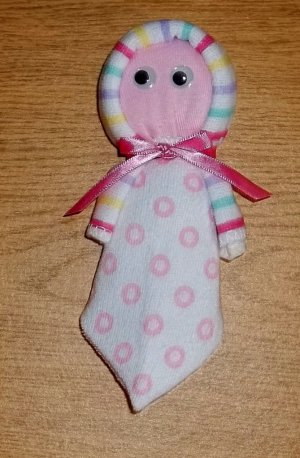 WASHCLOTH BABY DOLL~ BABY SHOWER FAVOR OR GIFT