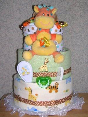 ELITE SAFARI  3 TIER DIAPER CAKE FOR GIRL/BOY/NEUTRAL