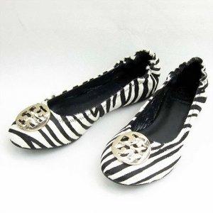 Tory Burch Black White Zebra Reva Pony Hair Flats Size US 5-10