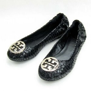 Tory Burch Reva Lizard Black Embossed Leather Flat Coconut SIZE US 5-10