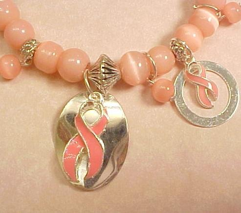 Breast Cancer Pink Beaded Bracelet with Dangle Circles  & Ribbons #78-3137-2-12
