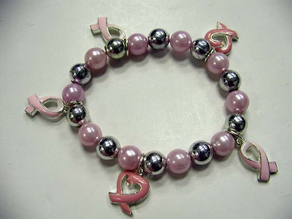 Pink Pearl Breast Cancer Ribbon Bracelet #711-18174