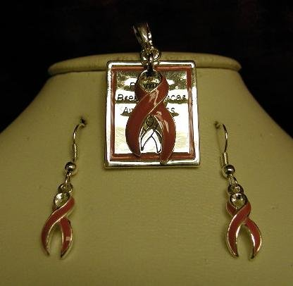 Breast Cancer Awareness ( Charm ) Pendant and Earring Set #713-631