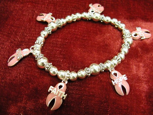 Breast Cancer Awareness Charm Bracelet Pink Ribbons Faith Hope Love Dangles #712-1168-2