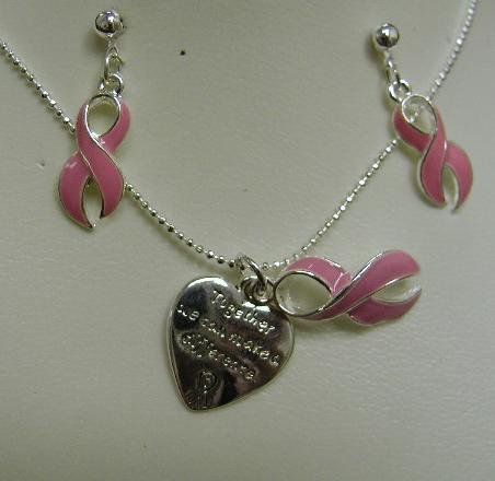 Breast Cancer Awareness Necklace and Earring Set Together We Can Make A Difference #718-20