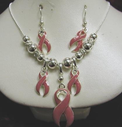 Breast Cancer Awareness Necklace and Earring Set #715-1167