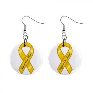 "Yellow Support Our Troops Earrings 1"" Button Style Dangle Made In USA 16452808"