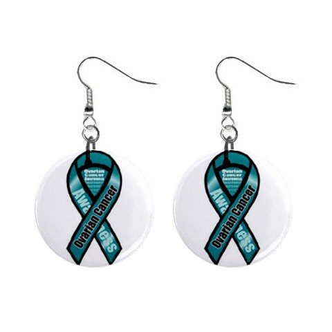 """Ovarian Cancer Awareness Ribbon Earrings 1"""" Button Style Dangle Made In USA 16452810"""