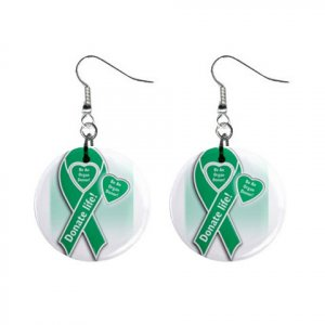 "Organ Donor Awareness Ribbon Earrings 1"" Button Style Dangle Made In USA 16452811"