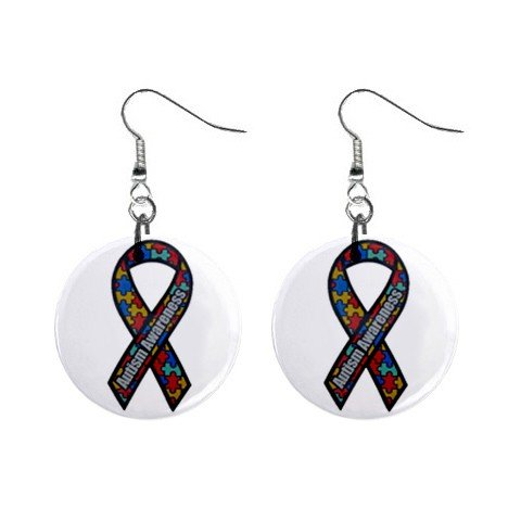 """Autism Awareness Ribbon Earrings 1"""" Button Style Dangle Made In USA 16452824"""