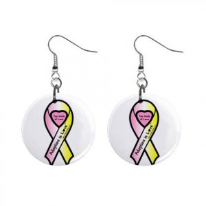 "Adoption Awareness Ribbon Earrings 1"" Button Style Dangle Made In USA 16452826"