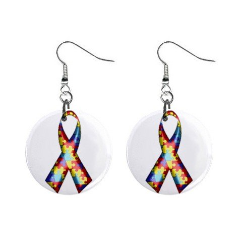 """Autism Awareness Ribbon Puzzle Earrings 1"""" Button Style Dangle Made In USA 16452827"""
