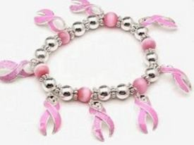 Breast Cancer Bracelet with Silver and Pink Beads #74-128