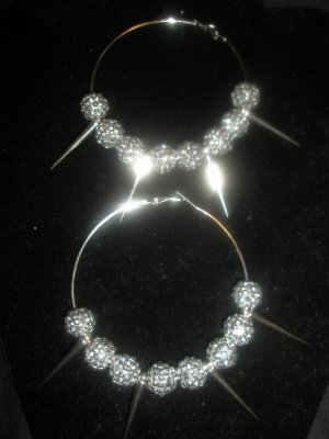 SALE!! BASKETBALL WIVES Silver Spiked Earrings - LARGE