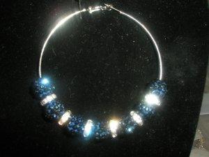 Crystal Pave Earrings - Indigo Blue