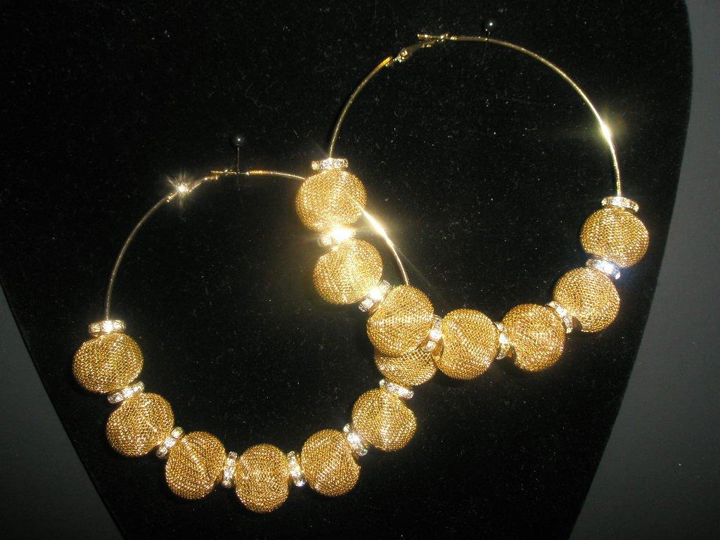 SALE! Gold Mesh Hoop Earrings - LARGE Basketball Wives Inspired